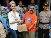 Puteri Indonesia Jawa Timur 2017 Berikan Bantuan Longsor Ponorogo