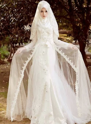 Gaun Pengantin Muslimah Putih Modern