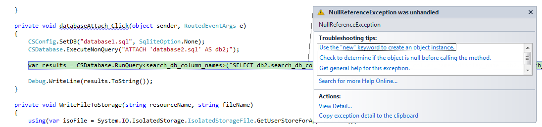 Attaching multiple sqlite databases in WP7   Awkward Coder
