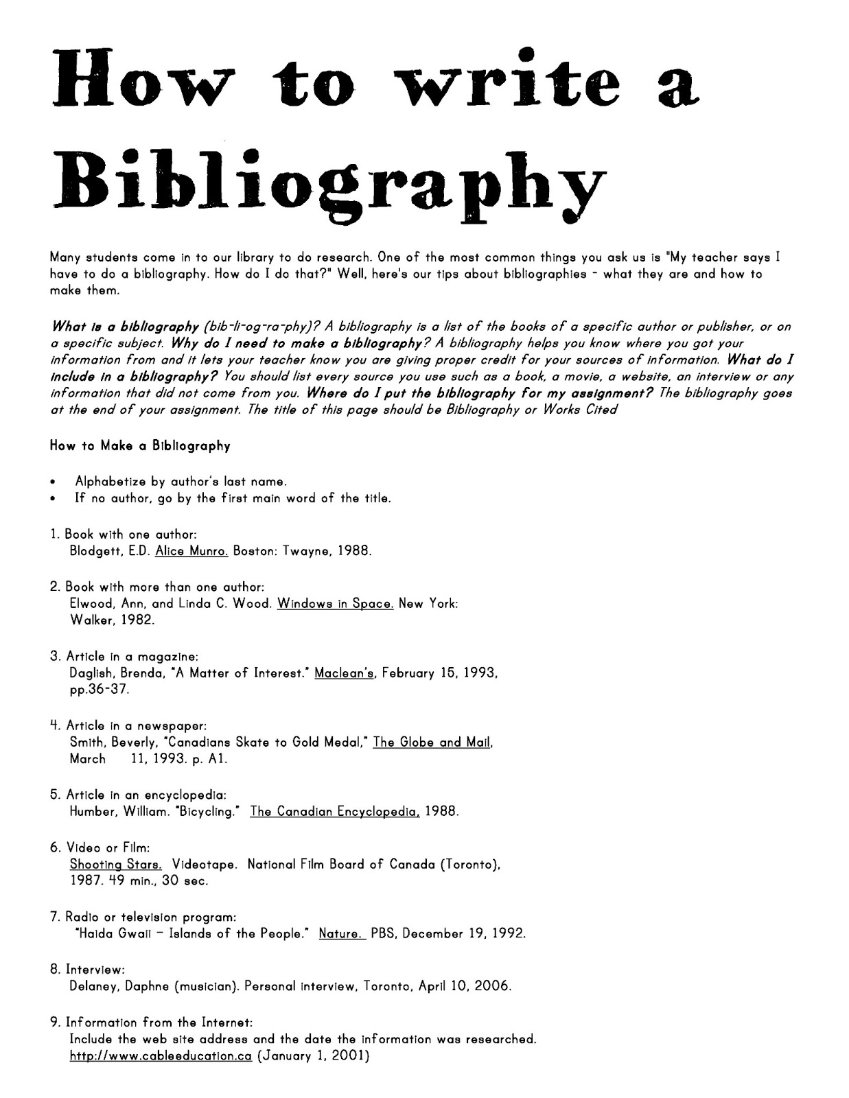 how to write a bibliography for a book and website