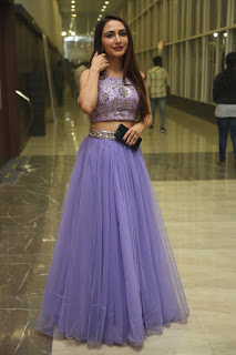 Dhriti Pictures in Purple Lehnga Lehenga Choli at Keshava Telugu Movie Audio Launch