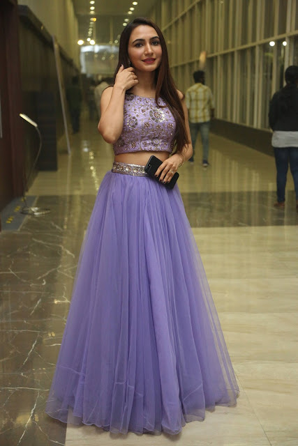 Actress Dhriti Pos in Purple Lehnga Lehenga Choli at Keshava Telugu Movie Audio Launch .COM 0005.jpg