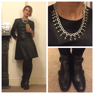Zara pleather dress Stella and Dot necklace