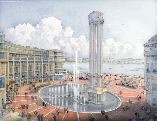 Washington Harbor fountain, Gensler design, MRP Realty