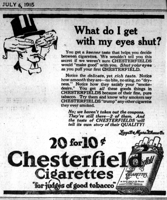 Chesterfield cigarettes advertisement 1915
