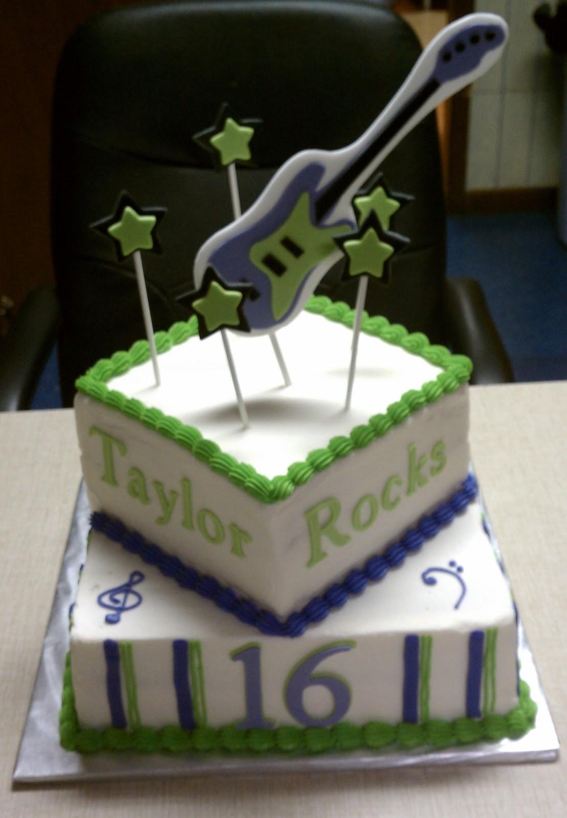 Simply Sweet Sweet 16 Guitar Birthday Cake
