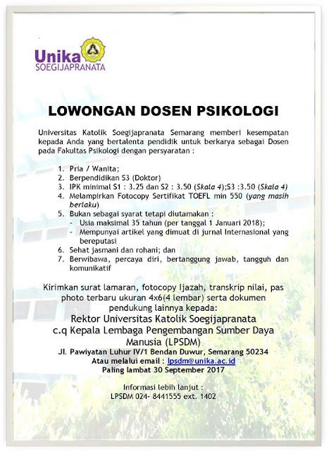 Lowongan Dosen Psikologi UNIKA Soegijapranata Semarang Agustus 2017