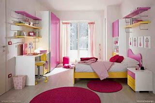desain kamar tidur anak perempuan samping