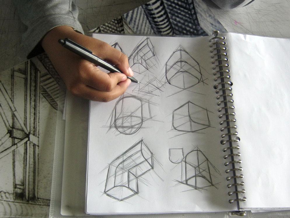 01 Garis Konstruksi bentuk geometris tumpul Teknik
