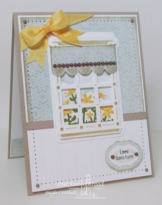 ODBD Home Sweet Home, ODBD Custom Welcoming Window Dies, ODBD Custom Window Shutter & Awning Dies, ODBD Custom Flower Box Fillers Dies, ODBD Shabby Rose Paper Collection, ODBD Custom Vintage Labels Dies, Card Designer Angie Crockett