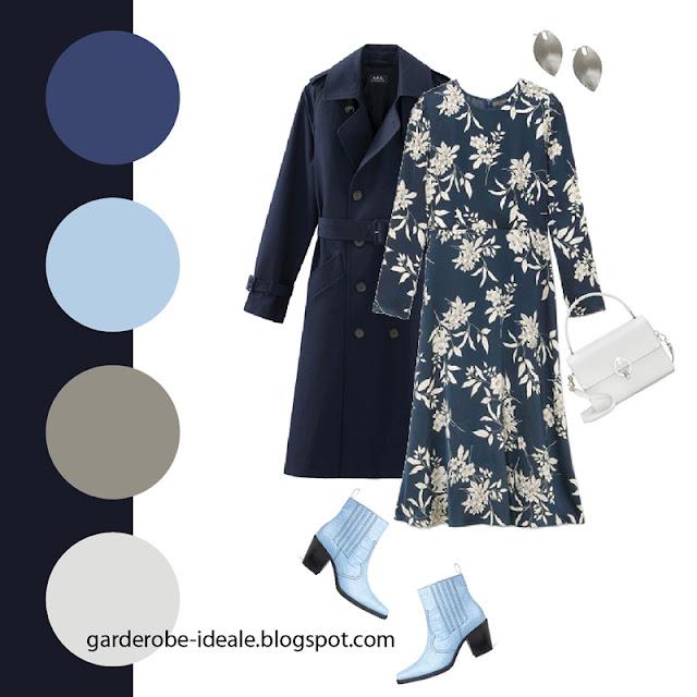Синий тренч оверсайз с синим платьем миди с цветочным принтом