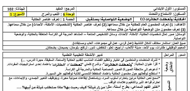 جذاذات الأسابيع 1 و2 و 3 و 4 من الوحدة السادسة المفيد في اللغة العربية للمستوى الأول ابتدائي