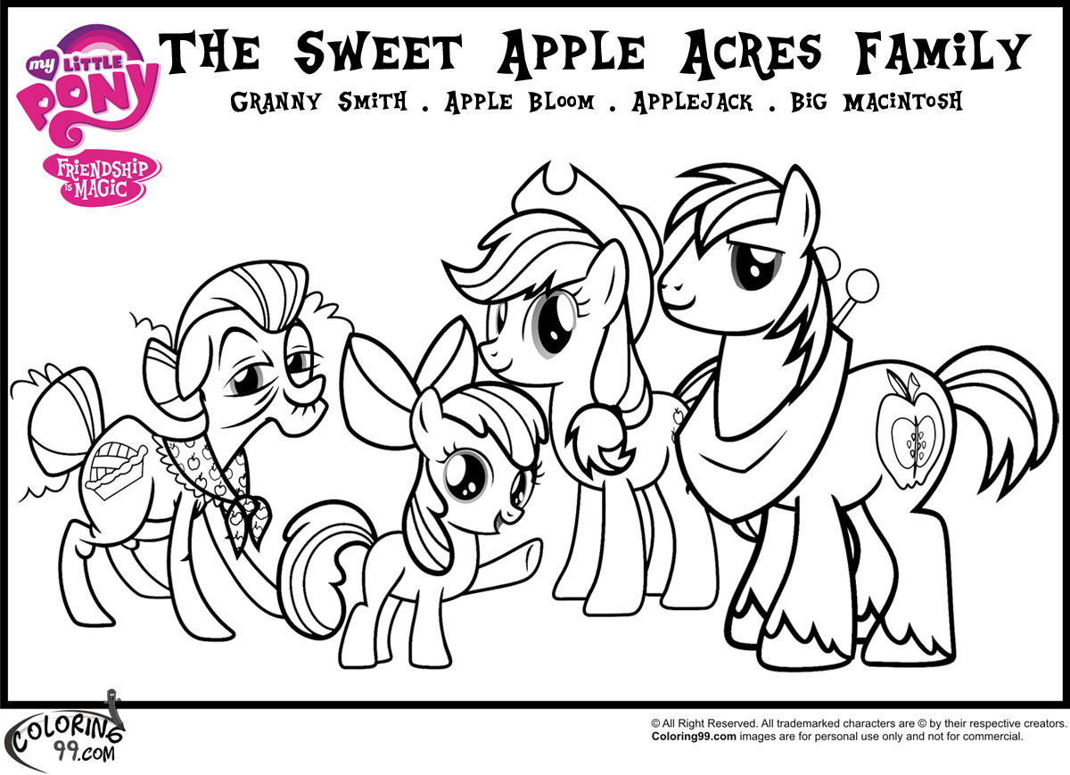 Mlp Apple Family Coloring Pages Team Colors