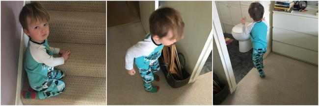 Our-Weekly-Journal-Grandad's-New-Hip-collage-toddler-sat-on-stairs-looking-unhappy-toddler-searching-bedroom-toddler-searching-ensuite-room