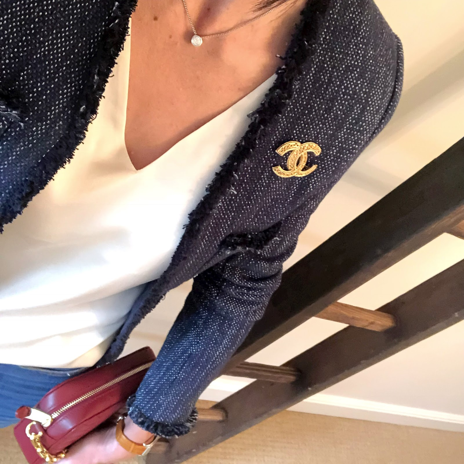 my midlife fashion, l'agence jacket, marks and spencer silk top, lauren ralph lauren payton small cross body bag, j crew billie demi boot crop jeans, j crew pointed metallic flats