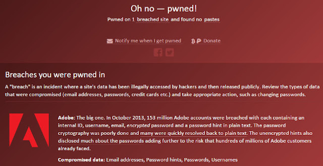 HaveIBeenPwned.com shows if your email was included in a data breach