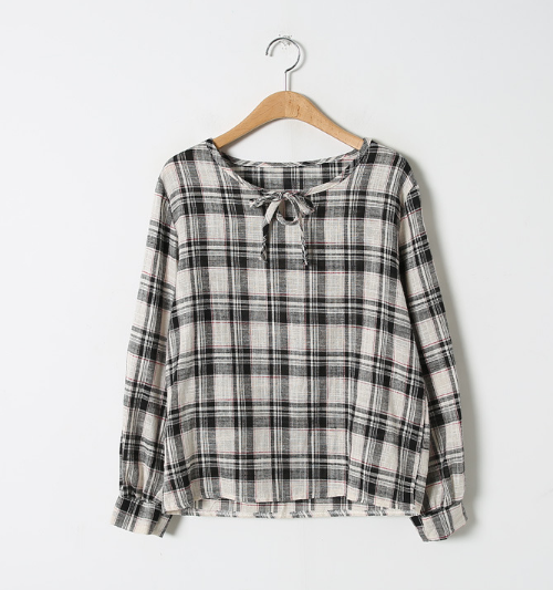 Self-Tie Neck Tartan Check Blouse