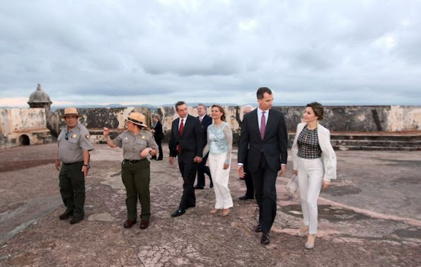 Governor of Puerto Rico, Alejandro Garcia Padilla, King Felipe VI and Queen Letizia of Spain visit Fort San Felipe del Morro