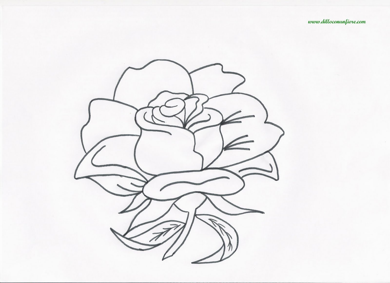 Biglietto Con Rosa Da Colorare: Say It With Flowers: Free Flower Coloring Pages