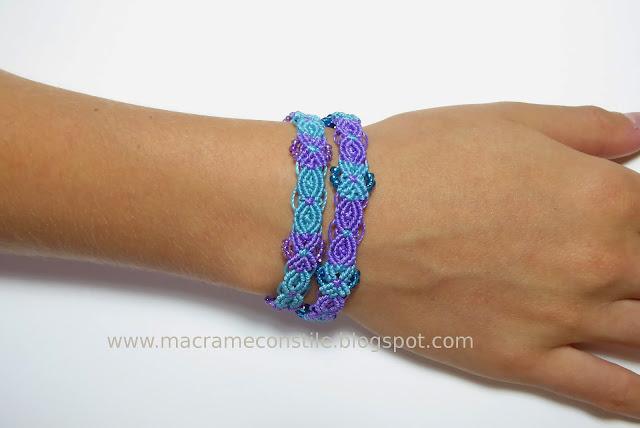 macrame bracciali gemelli azzurri indossati