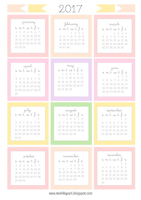 Free printable 2017 mini calendar cards - bullet journal stickers ...
