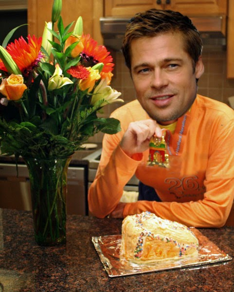 I photoshopped a picture of Brad Pitt's head onto my dad's marathon shirt-wearing body because that was the first male celebrity I thought of I'm so sorry. Also a shoe-shaped cake.