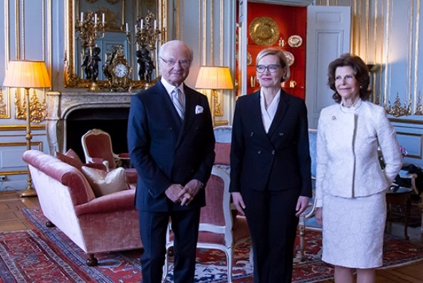 Queen Silvia and Speaker of the Parliament of Finland Paula Risikko attended the Queen Silvia Nursing Award presentation ceremony at Royal Palace