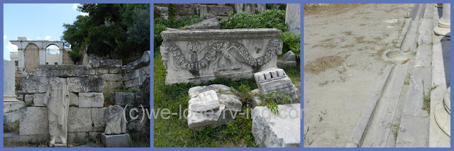 There are 3 photos of different ruins of the Roman Agora