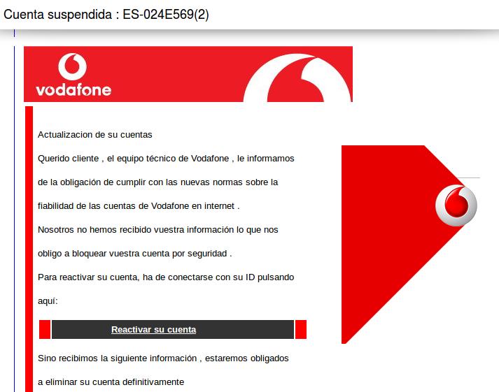 Cuenta de Vodafone suspendida - Trolas en la Red