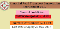 Himachal Road Transport Corporation Recruitment 2017– 574 Driver