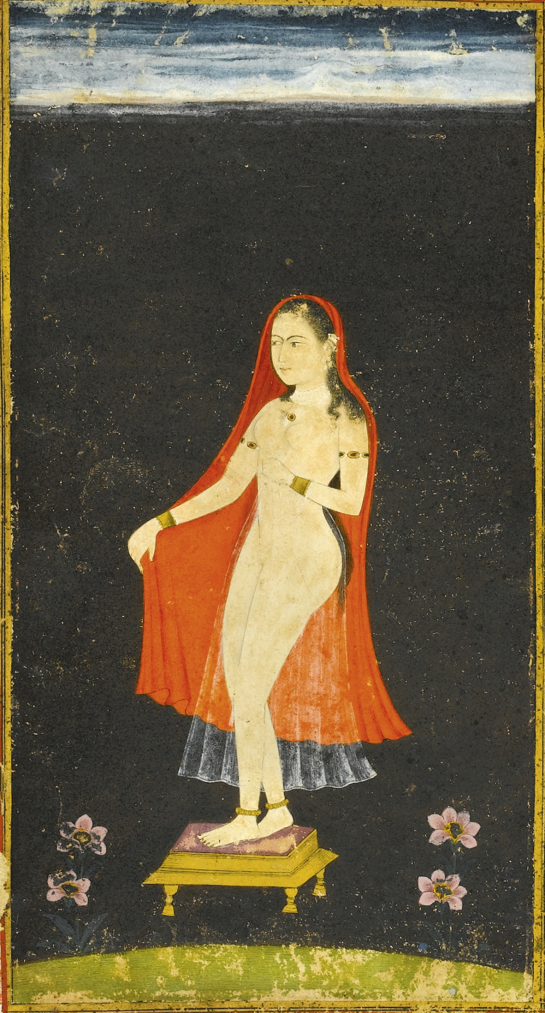 A Lady Bathing - Miniature Painting, India, Deccan, Late 17th or Early 18th century