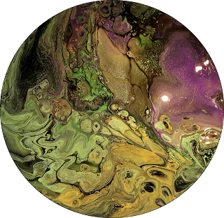 Green and purple resin art circle painting by HBA Jane Biven