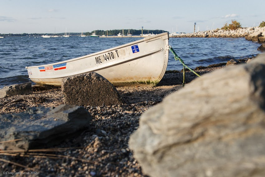 Portland, Maine USA August 2017 photo by Corey Templeton. A sturdy looking dinghy docked off the East End Beach this evening.