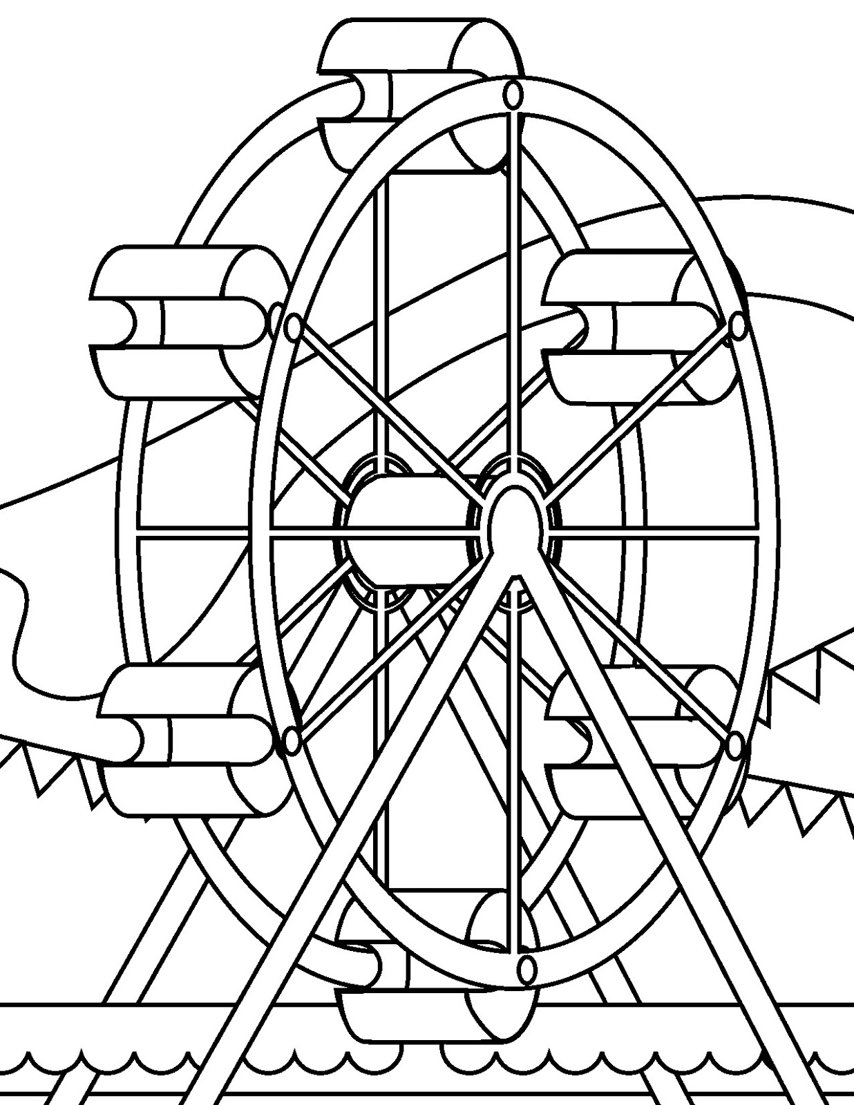 Disney world ferris wheel coloring pages for Wheel coloring page