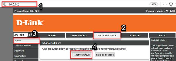 dlink dsl-224 soft reset settings