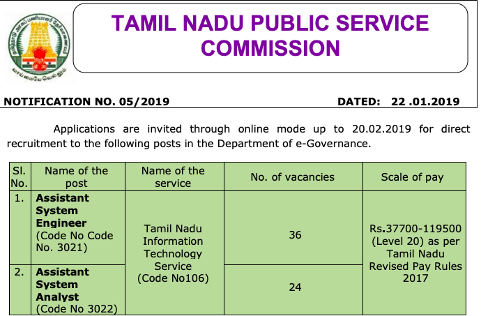 tnpsc assistant system engineer recruitment