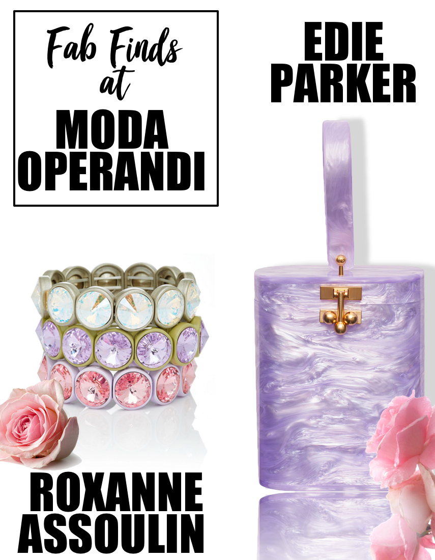 Roxanne Assoulin Jewelry and Edie Parker Oval Bag in Purple