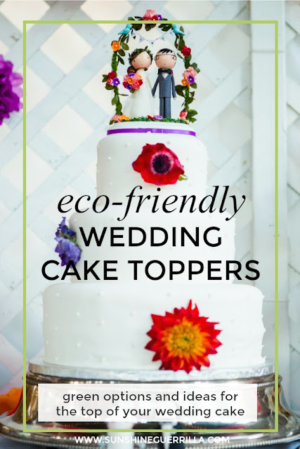 eco-friendly wedding cake topper on a bright colorful cake