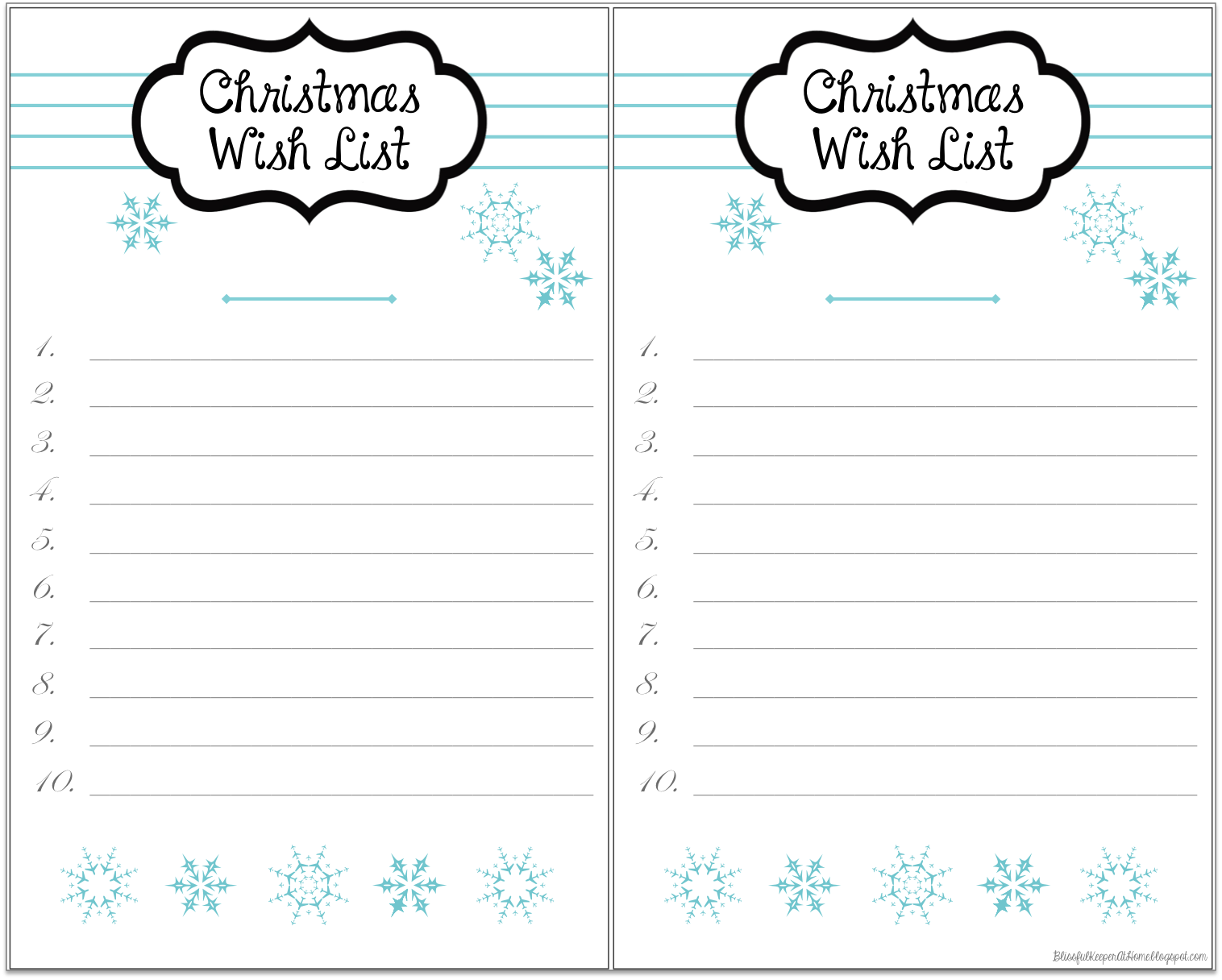 Blissful Keeper At Home Snowy Christmas Wish List Printables