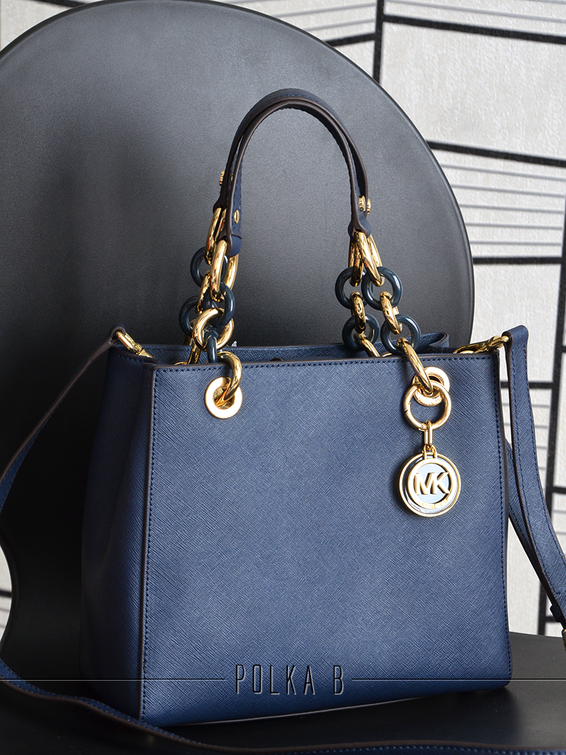 865dea0a22a1 Michael Kors Cynthia Small Saffiano Leather Satchel - Navy