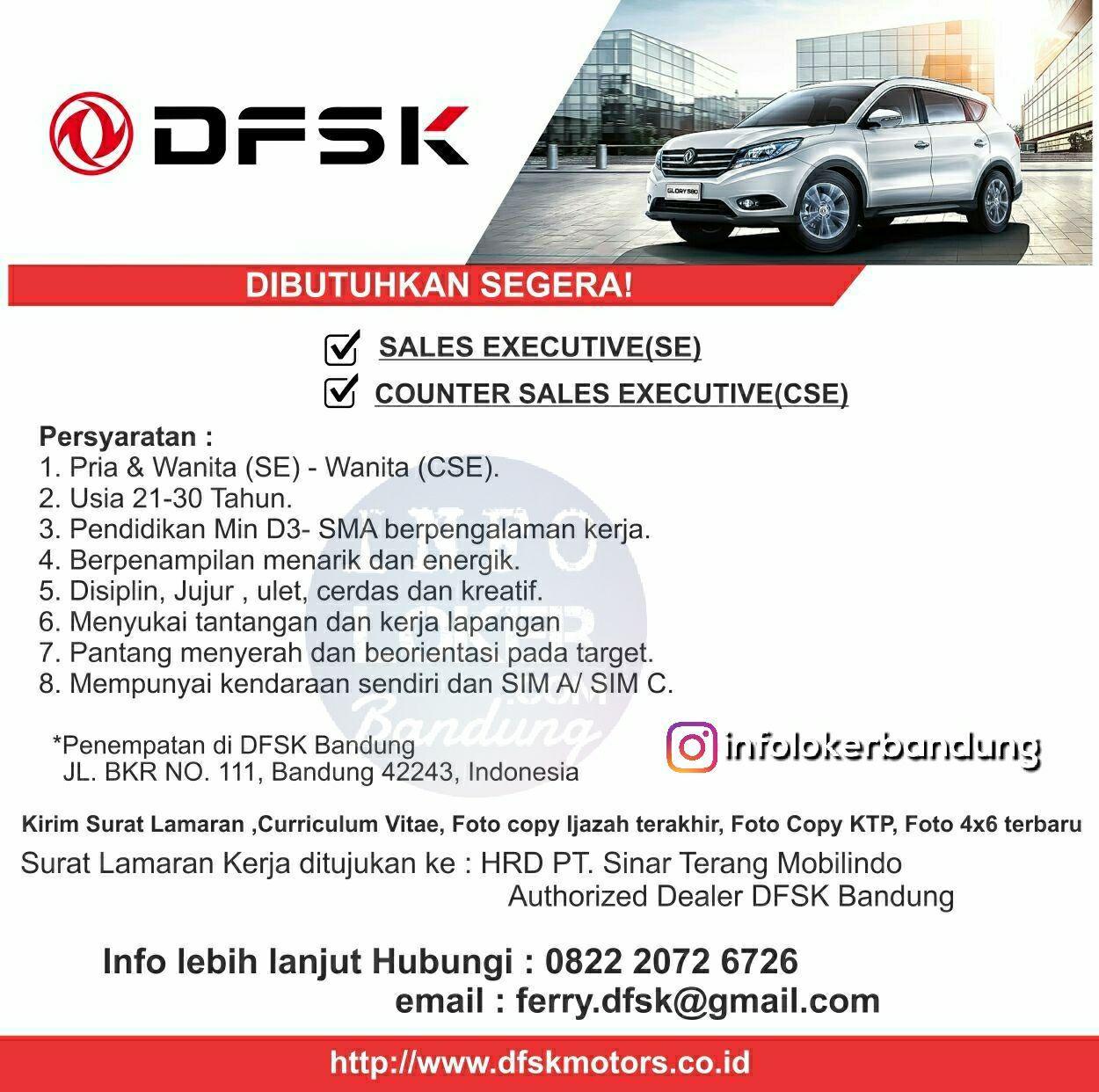 Lowongan Kerja PT. Sinar Terang Mobilindo ( Authorized DFSK) Bandung Maret 2018