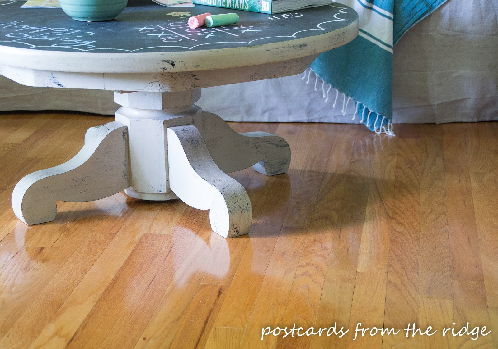 Chalkboard Painted Pedestal Table inspired by Pottery Barn. So fun!