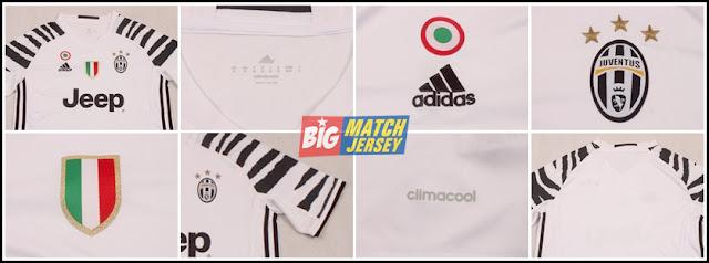Detail Baju Bola Jersey Adidas Juventus 16-17 3rd Shirt - White and Black