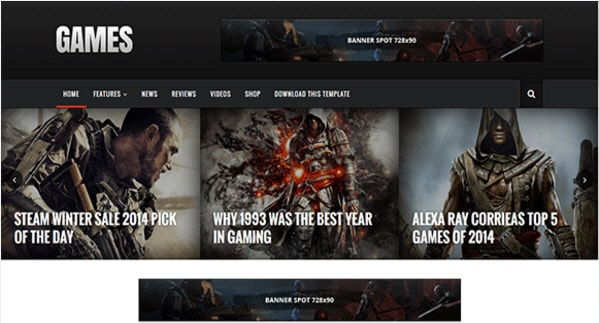 Sora Games Blogger Template, download free blogspot theme 2018