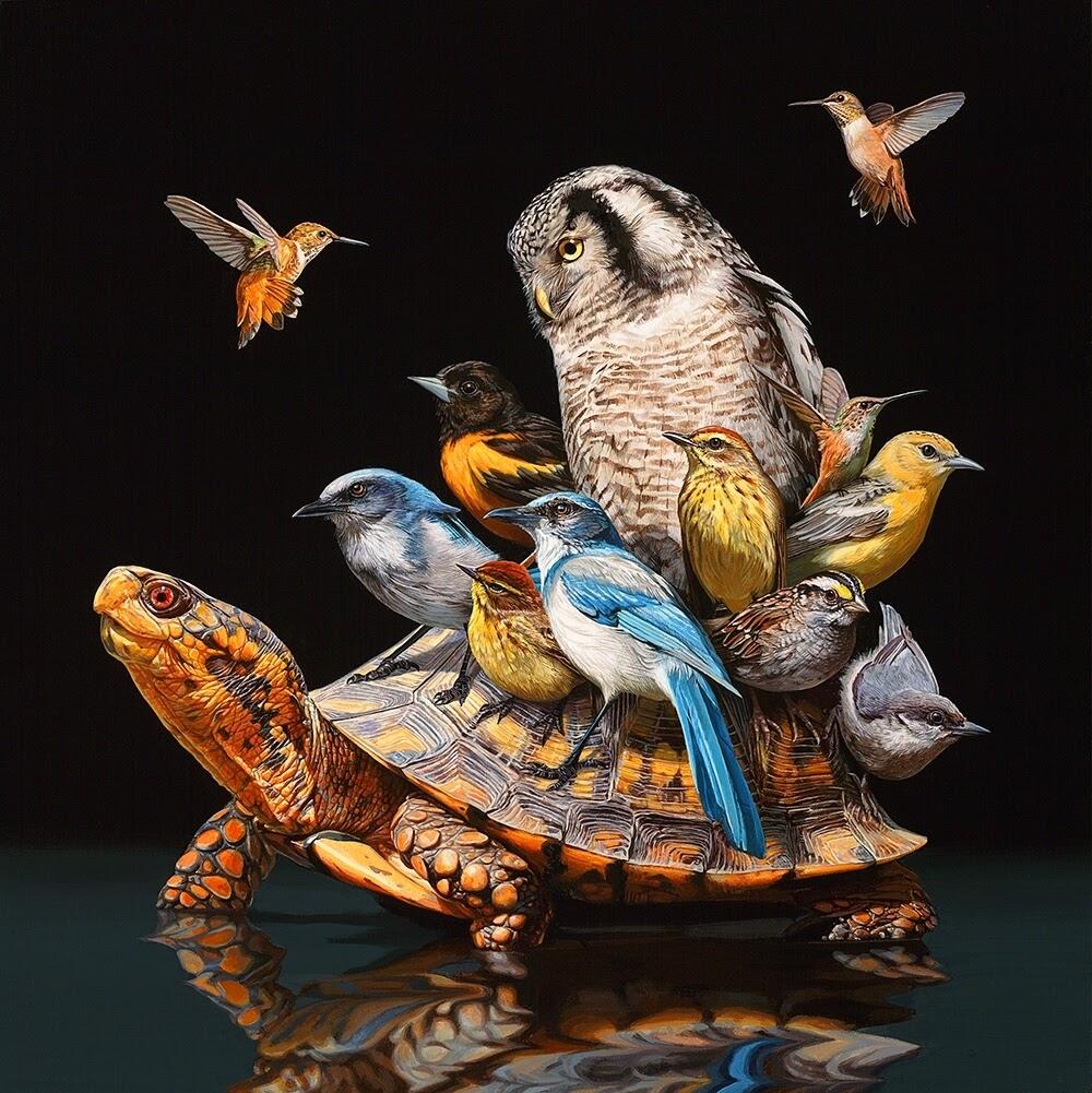 02-Flock-Lisa-Ericson-Animals-Interspecies-Friendships-Paintings-www-designstack-co