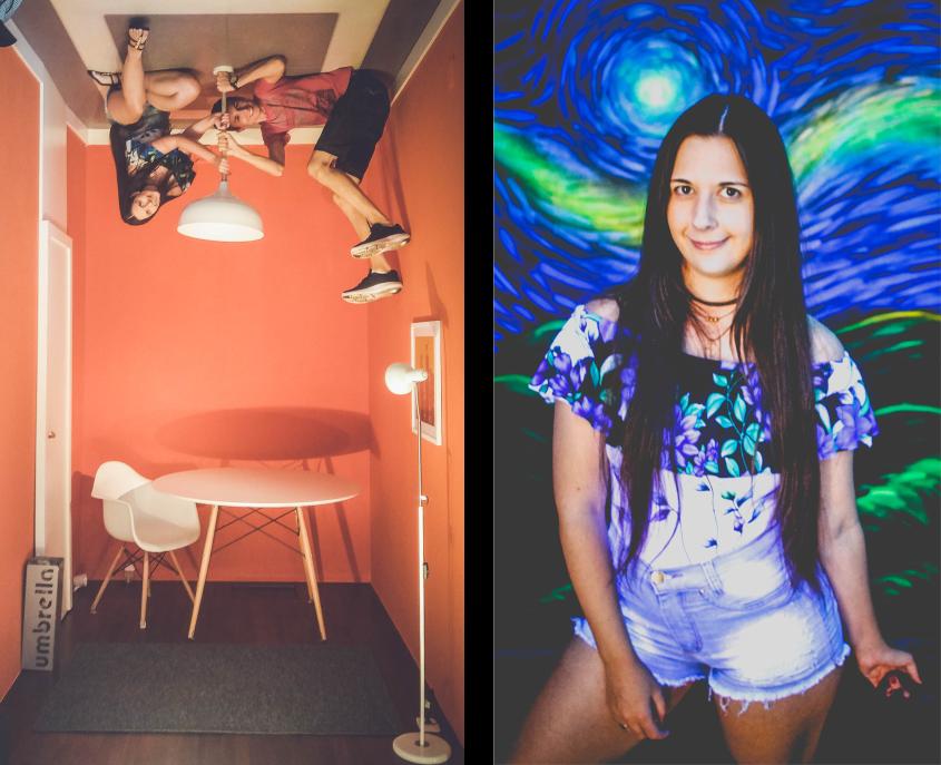 Foto da esquerda com casal no teto e da direita com menina
