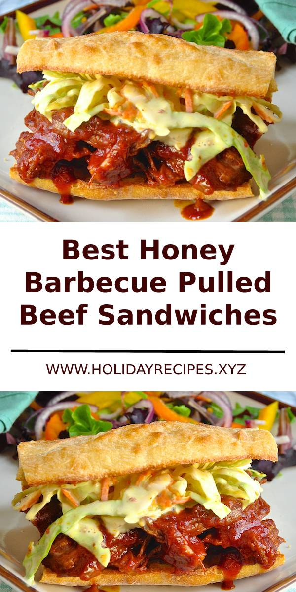 Honey Barbecue Pulled Beef Sandwiches with Creamy Dijon Coleslaw Recipe #Barbecue #sidedish #dinner #sandwiches #dish #dinner #beef