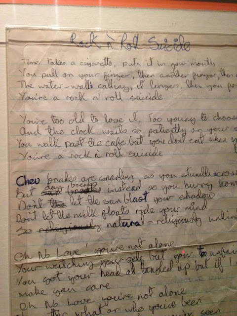 Manuscrito de Rock n Roll Suicide, David Bowie