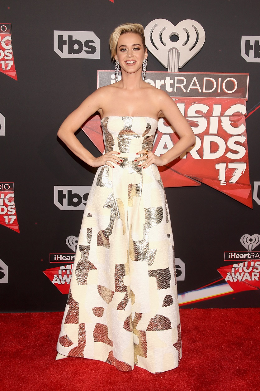 Katy Perry goes strapless for the 2017 iHeartRadio Music Awards in LA