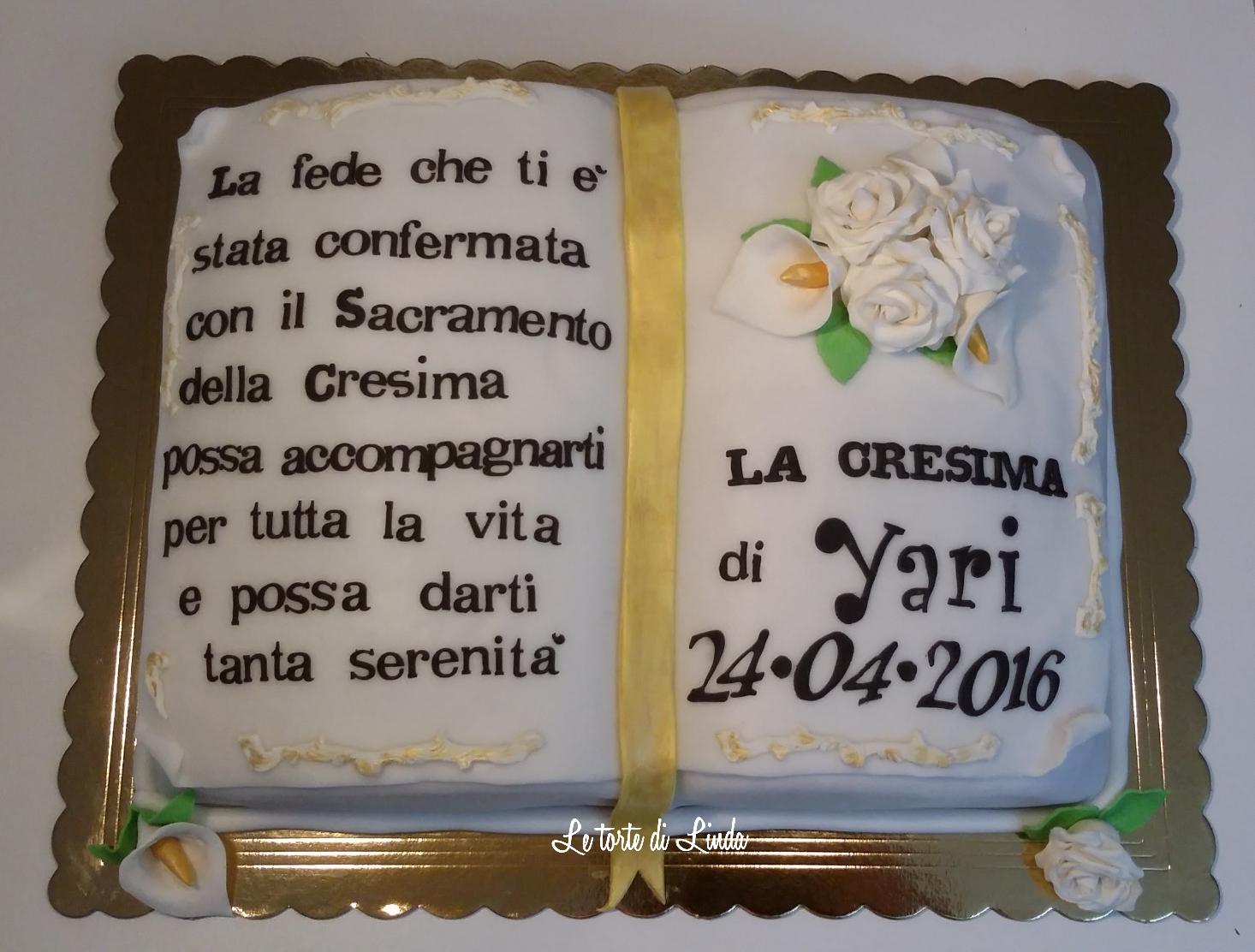 Le torte di linda torta libro per la cresima - Decorazioni per cresima ...
